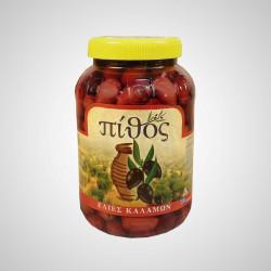 Olivy Kalamata s peckou černé v oleji extra virgin 1,55Kg - Pithos